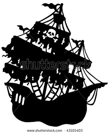 Pirate Ship Silhouette Stock Images, Royalty.