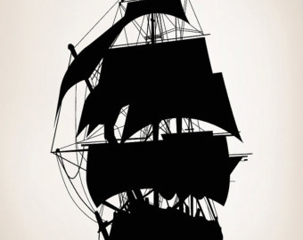 Items similar to Clip Art Vintage Ship Boat Pirate Ship Silhouette.