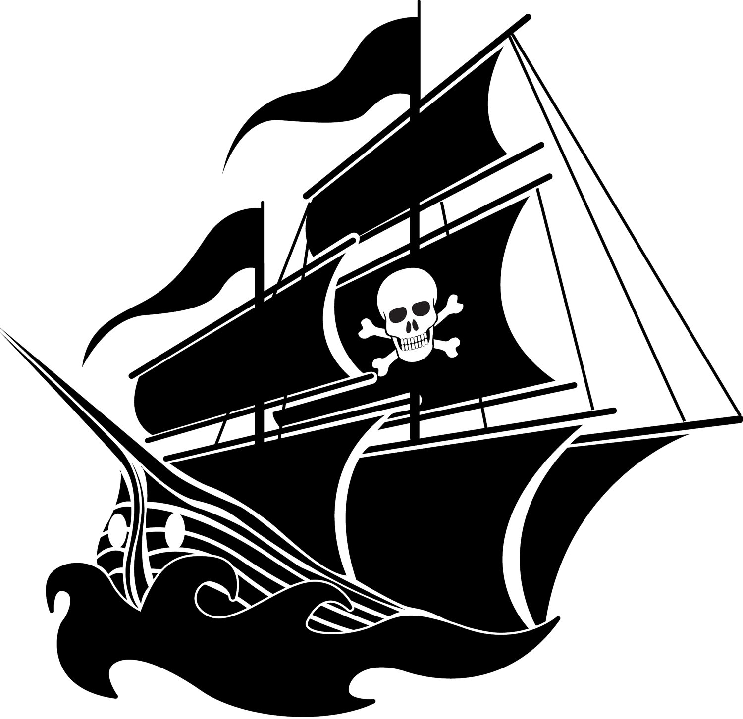 Pirate Ship Silhouette Clip Art.