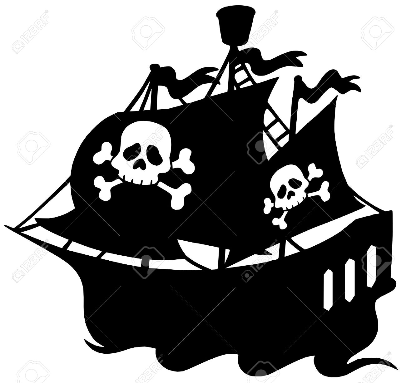 pirate ship silhouette clipart #16