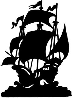 pirate ship silhouette clipart #11