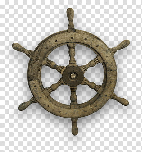 Brown ship\'s wheel transparent background PNG clipart.