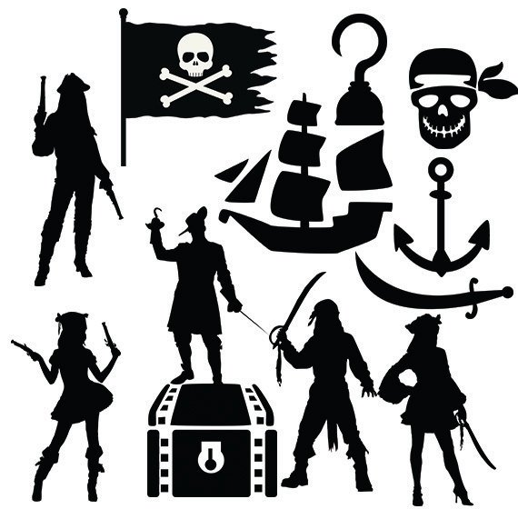 Pirates svg clipart silhouette.