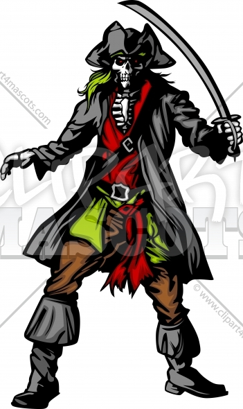 Pirate Skeleton Mascot Clipart Vector Graphic.