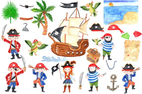 26 Pirate Themed Kids Clip.