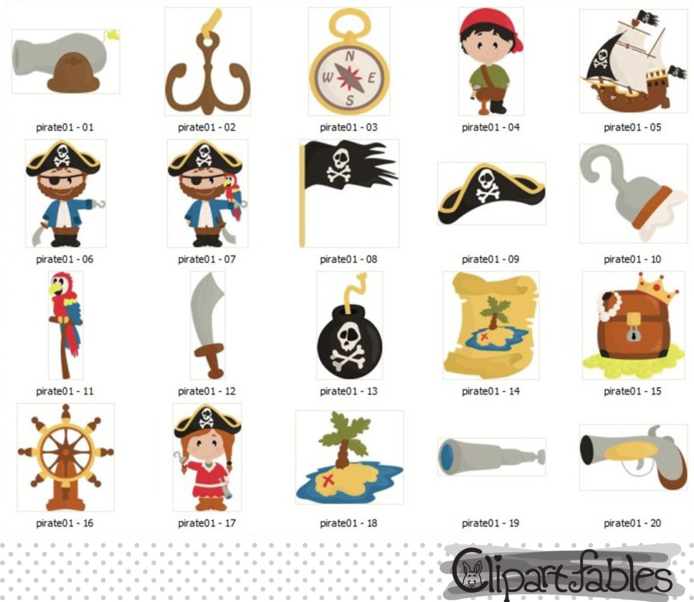 PIRATE clipart Ahoy clip art Cute pirate themed art.