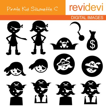 Clip art Pirate Kid Silhouette C (digital graphics) 07086.
