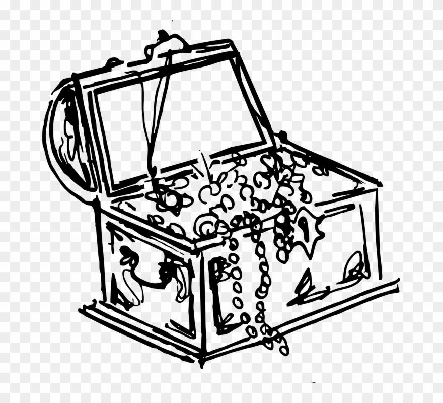 Pirate Treasure Black And White Clipart.