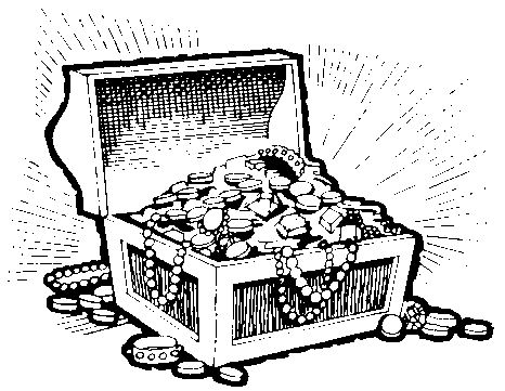 Free Black And White Outline Of A Treasure Chest, Download.