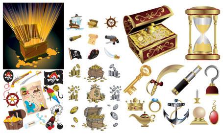 Pirate Treasure Map Clip Art, Vector Pirate Treasure Map.