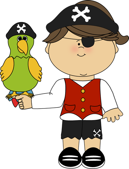 Pirate girl with parrot..