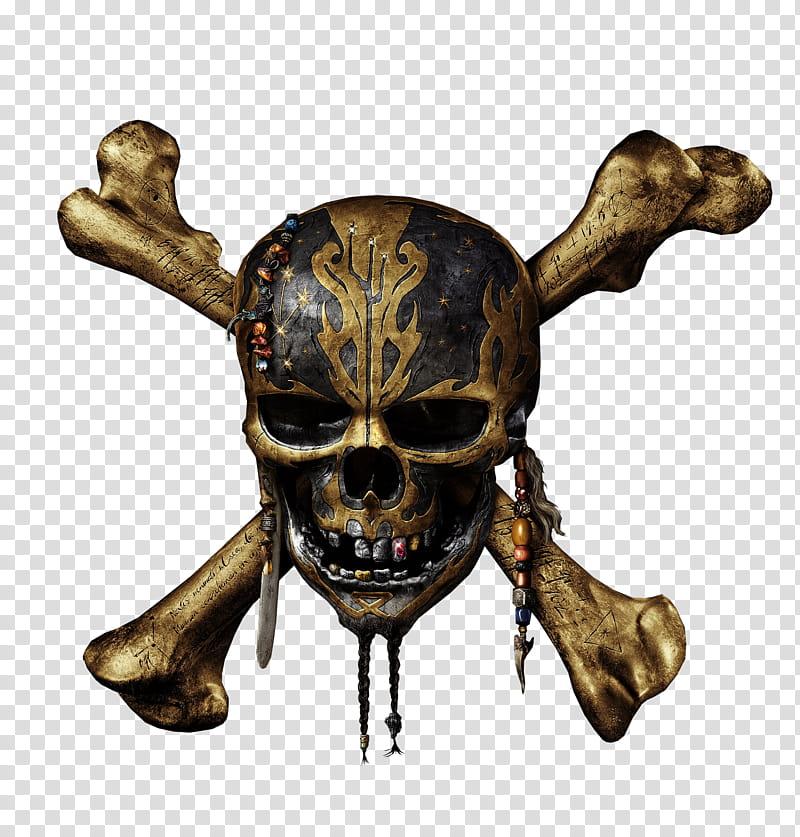 Pirates of the Caribbean skull logo, black and brown skull.