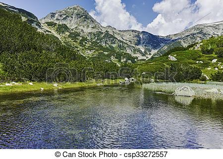 Stock Images of Muratov peak and river in Pirin Mountain, Bulgaria.
