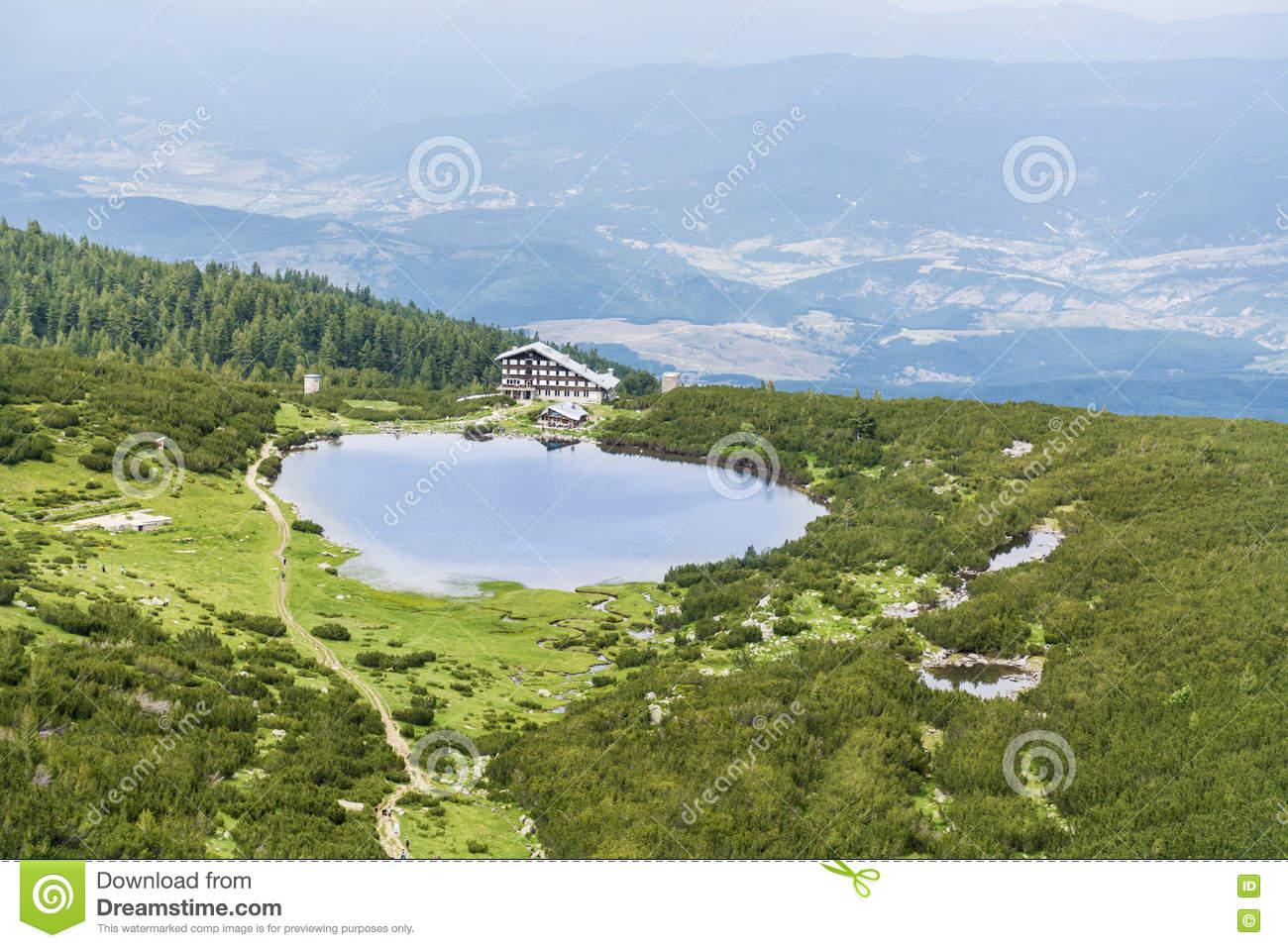 Bezbog Hut And Lake In Pirin Mountain,Bulgaria Stock Photo.
