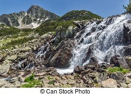 Stock Image of Waterfall and Sivrya peak, Pirin Mountain, Bulgaria.
