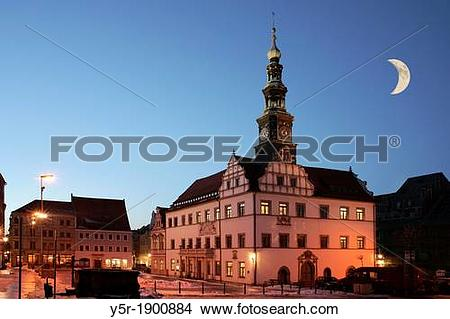 Stock Photo of Pirna guildhall at the marketplace Pirna, Saxony.