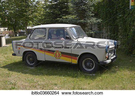 """Stock Photo of """"Trabant 601, plastered with advertisements for the."""