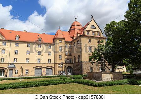 Stock Photography of Sonnenstein Castle in Pirna, Saxon.