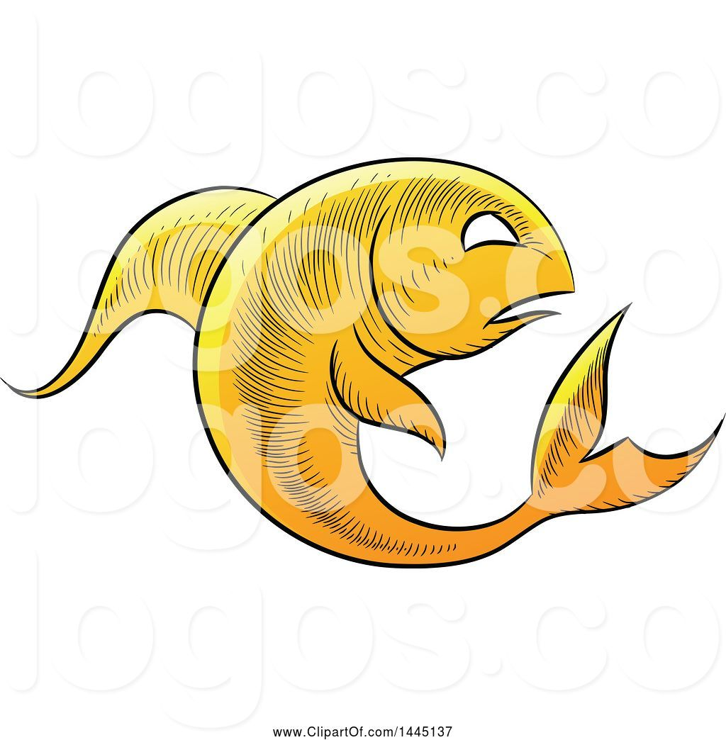 Logo of Sketched Golden Yellow Astrology Zodiac Pisces Fish.