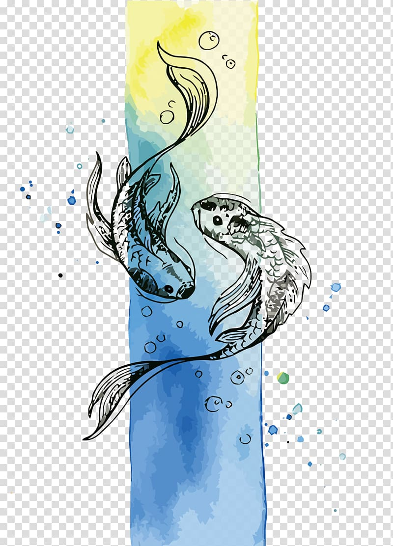 Fish Watercolor painting, Pisces transparent background PNG.