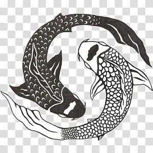 S, pisces fish illustration transparent background PNG.