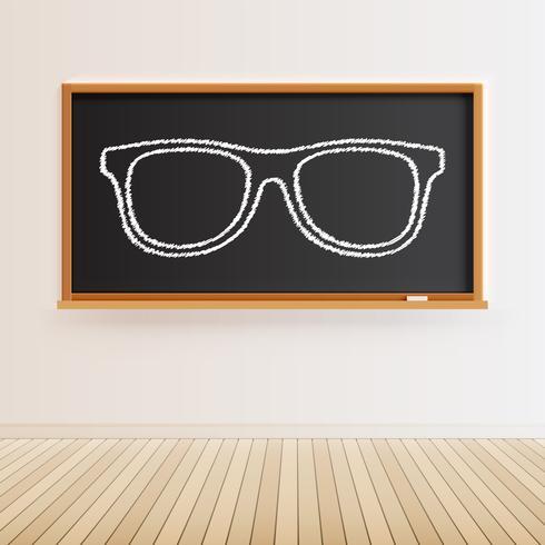 Lousa preta alta detalhada com piso de madeira e um óculos.