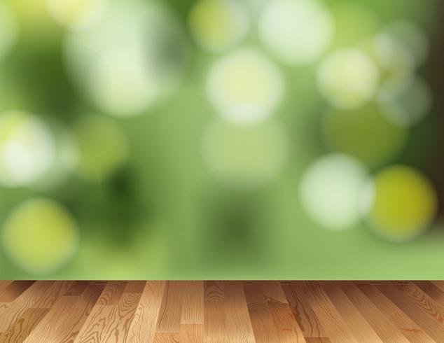 Background template with wooden floor and green light.