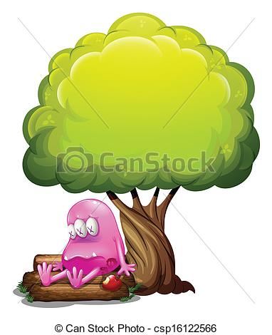 Clip Art Vector of A poisoned monster sitting above the log under.