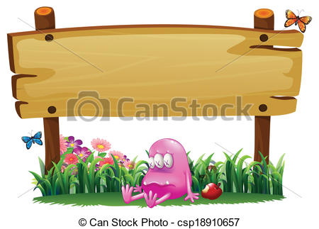 Clipart Vector of A poisoned pink monster under the empty wooden.