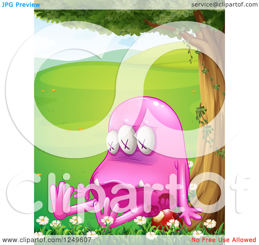 Clipart of a Poisoned Pink Monster with an Apple Under a Tree in a.