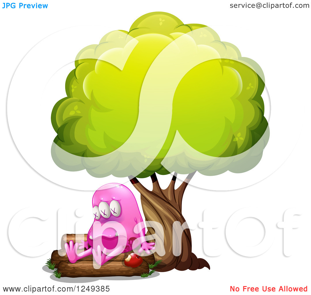 Clipart of a Poisoned Pink Monster with an Apple Under a Tree.