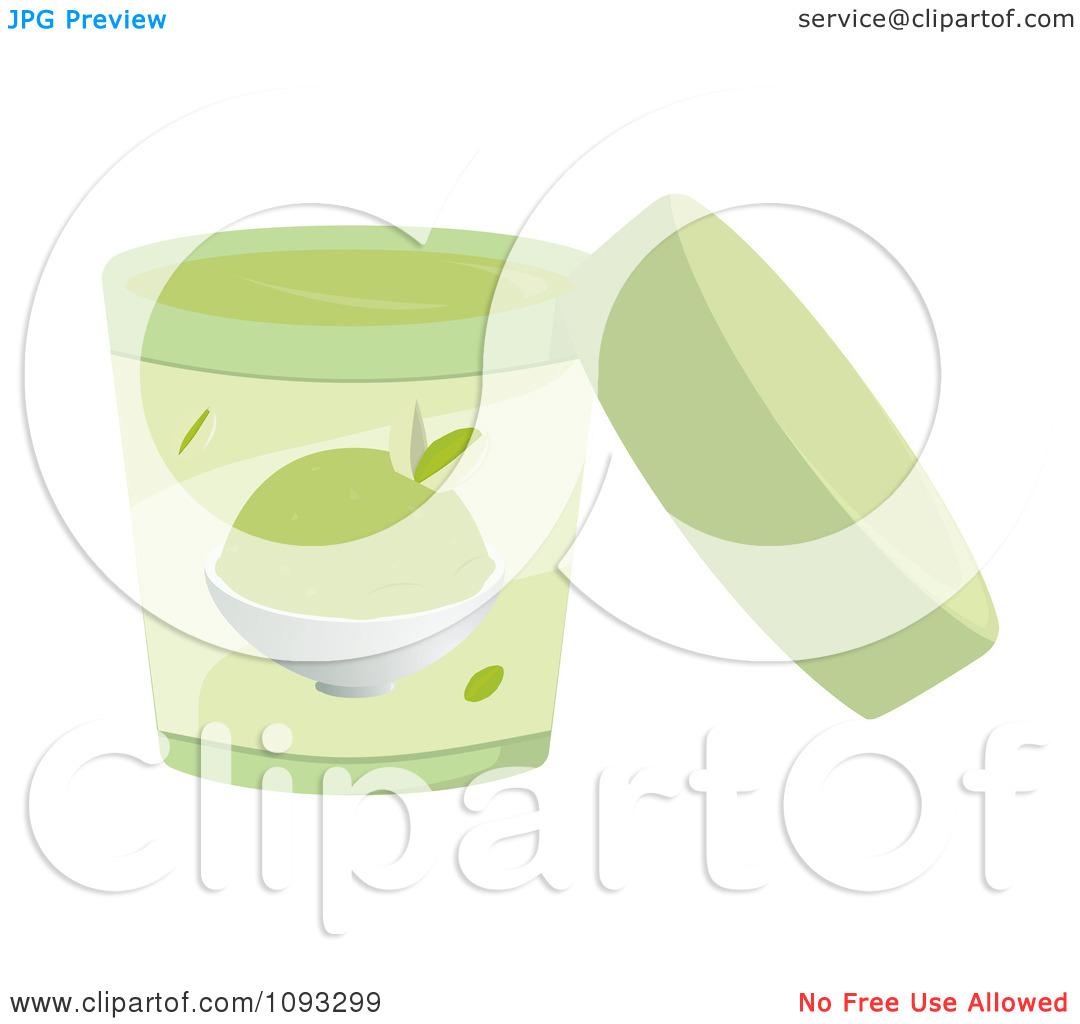 Clipart Open Container Of Pistachio Ice Cream.