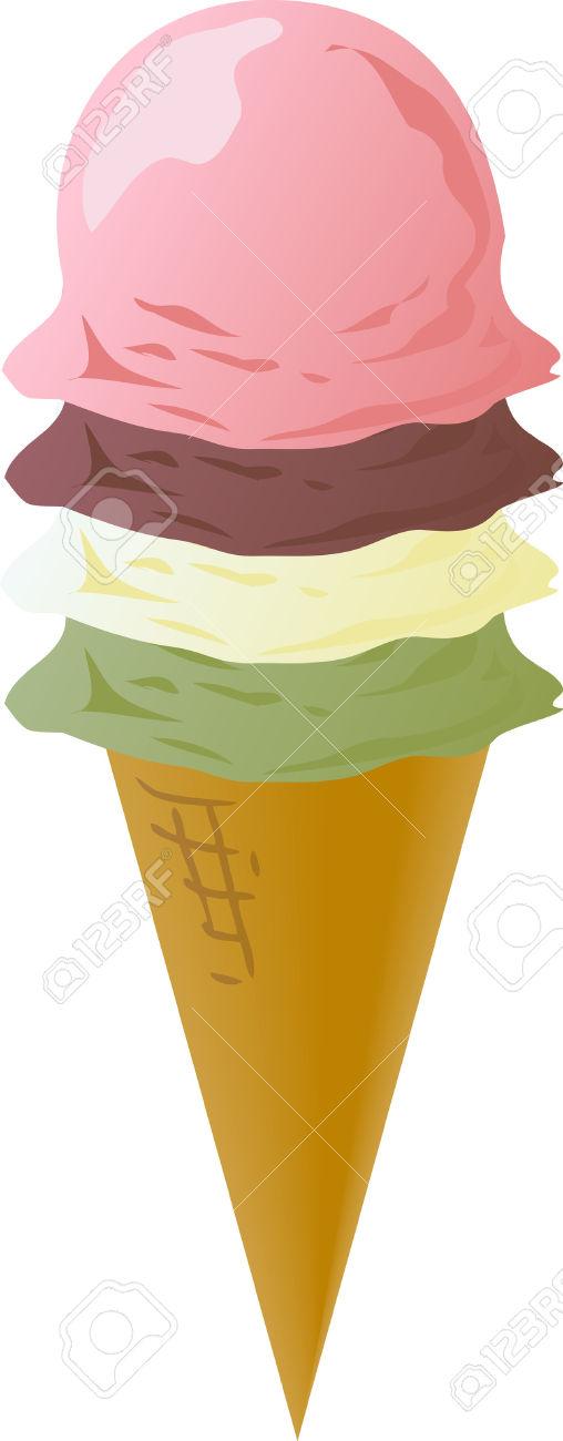 Ice Cream Cones Illustration, Various Flavors: Chocolate.