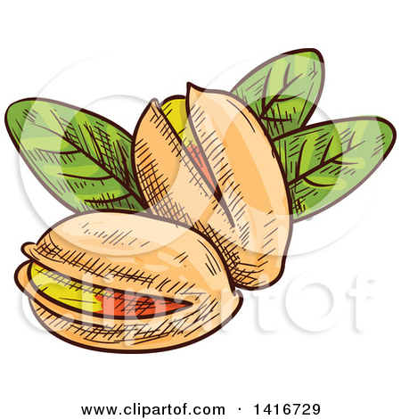 Clipart of Cartoon Pistachio Nuts and Leaves.