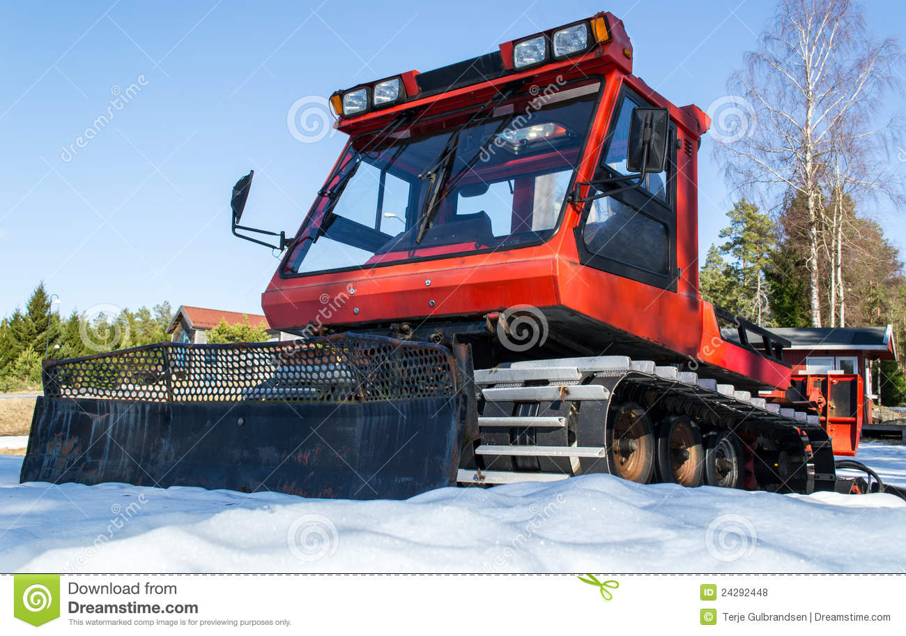Snow Grooming Machine Tracks Royalty Free Stock Photos.
