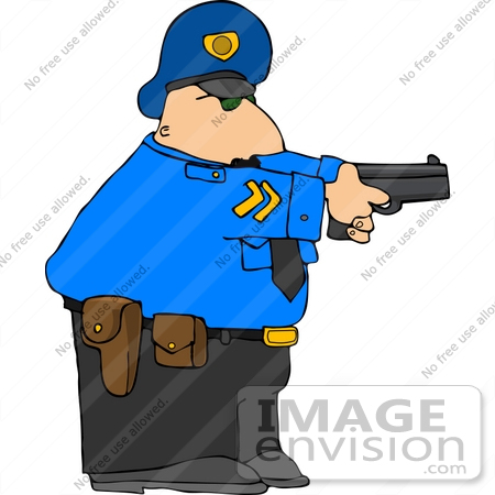 Caucasian Policeman With a Pistil Clipart.