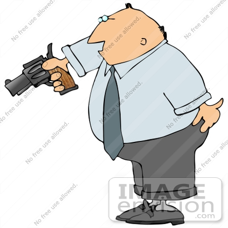 Angry and Frustrated Business Man Aiming a Pistil Clipart.