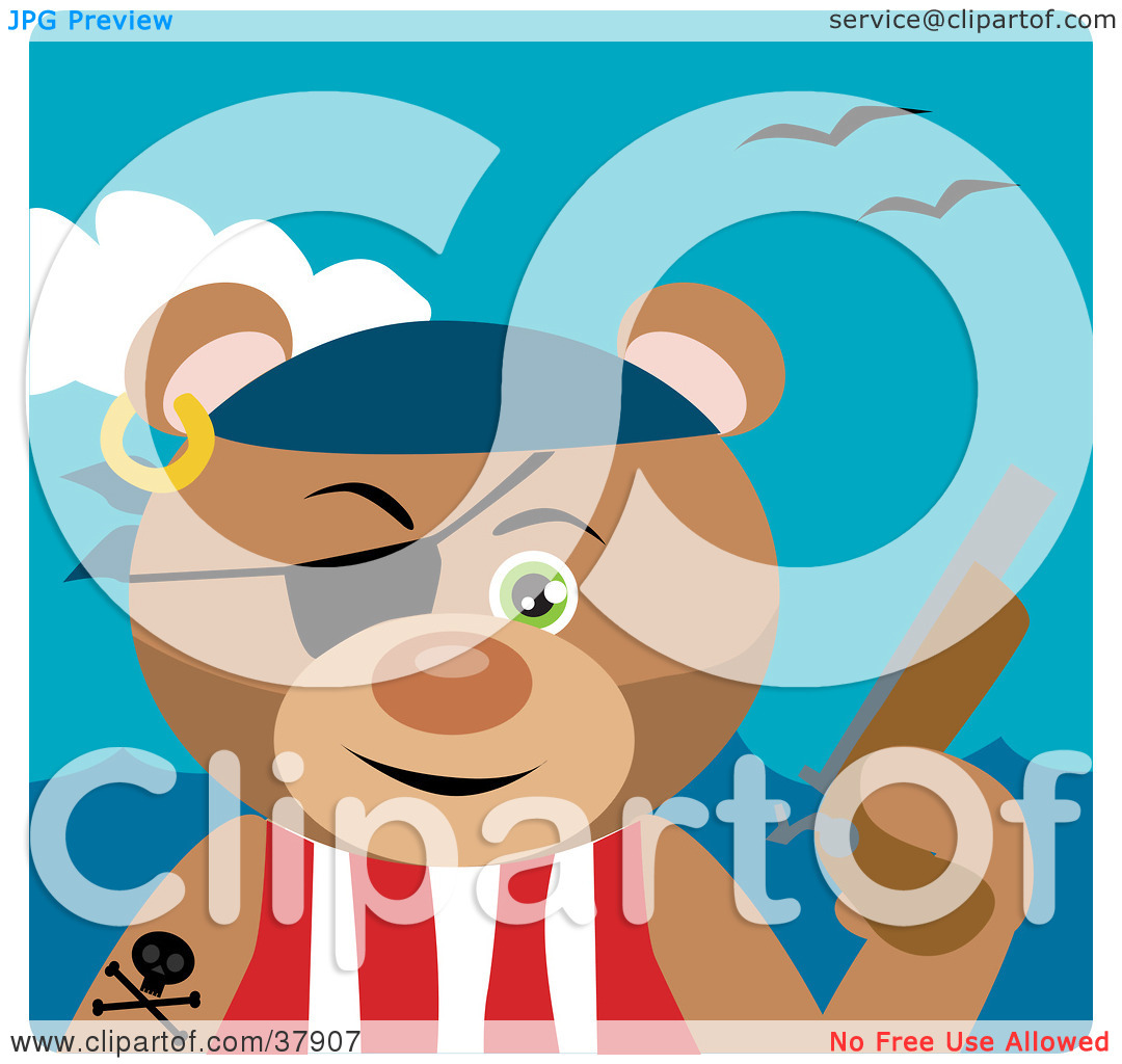 Clipart Illustration of a Pistil Bearing Teddy Bear Pirate by.
