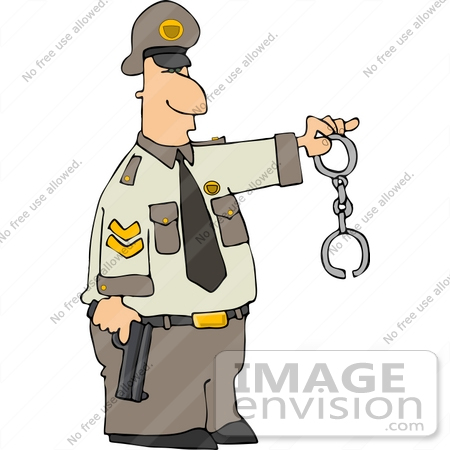 Cop Holding a Pistil and Handcuffs Clipart.