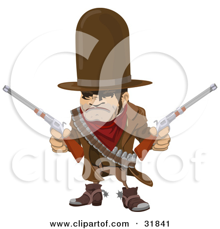 Clipart Illustration of a Tough, Muscular Cowboy In A Hat And Cape.