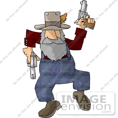 Old Hillbilly Cowboy Man Shooting Pistils Clipart.