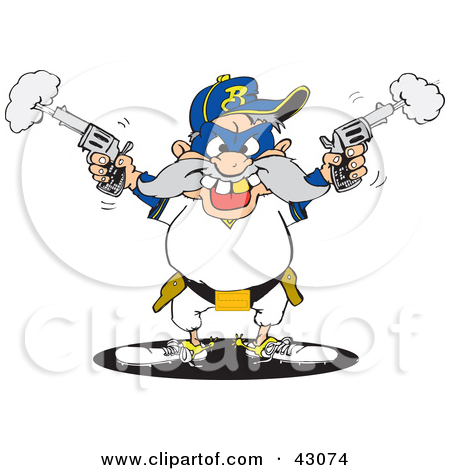 Clipart Illustration of a Male Bandit Shooting Pistils by Dennis.