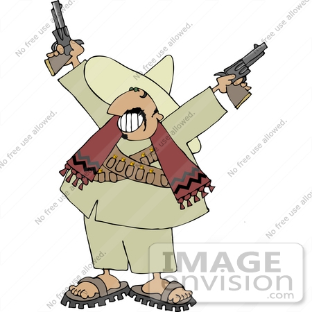 Male Mexican Bandito With Pistils Clipart.