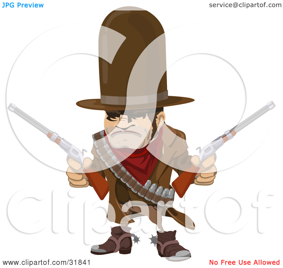 Clipart Illustration of a Western Cowboy Bandit Wearing Bullets.
