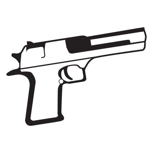 Pistol black and white icon.