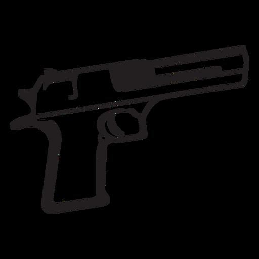 Pistol black and white icon.