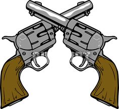 Vector Western Clip Art of Two Shiny Pistol Guns Forming a Cross.