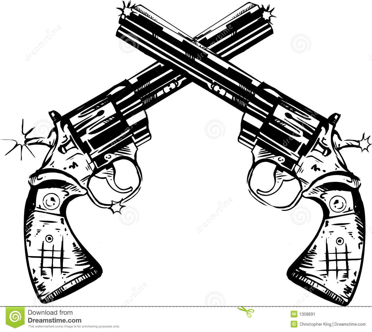 Crossed Pistols Clipart.