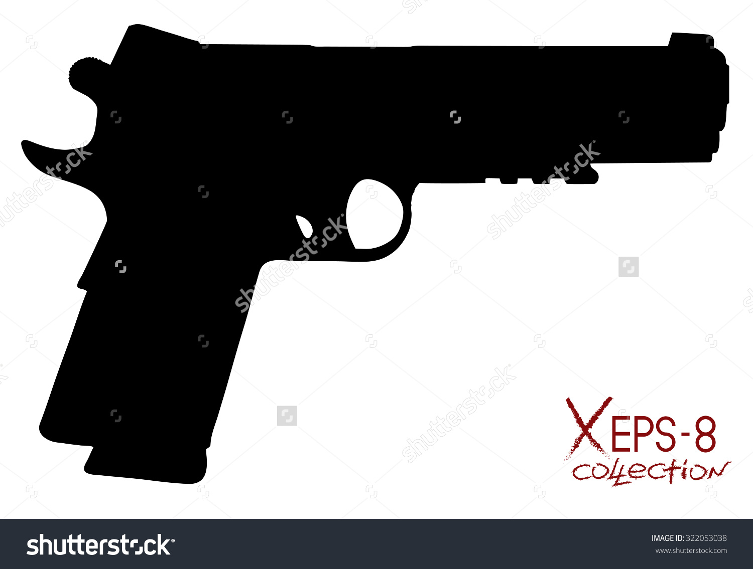 Modern Black Pistol Silhouette Isolated On Stock Vector 322053038.
