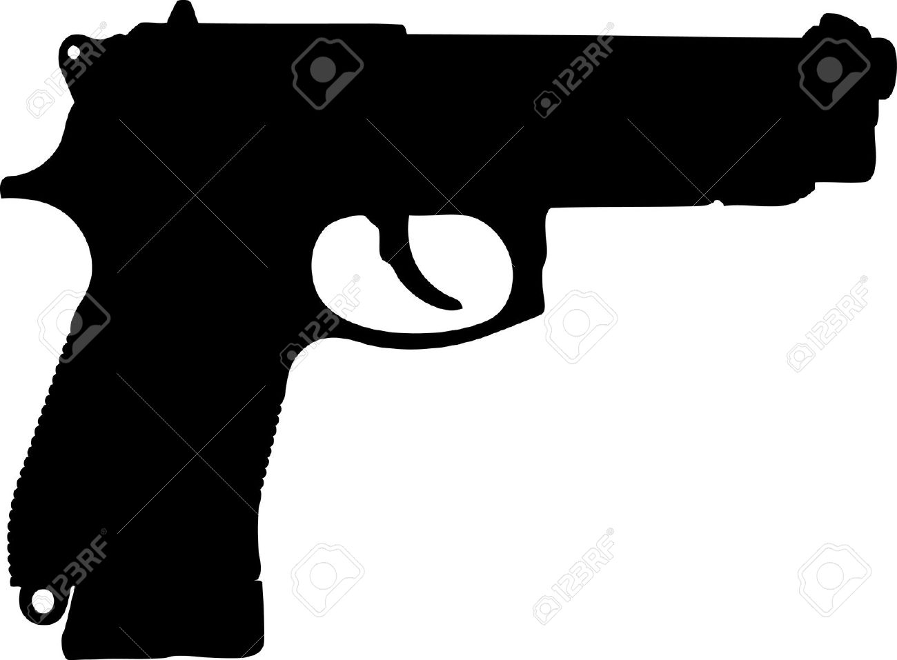 Silhouette Of Pistol On A White Background Royalty Free Cliparts.